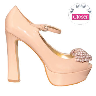 View Item Pearl Embellished Nude Platform Heel 